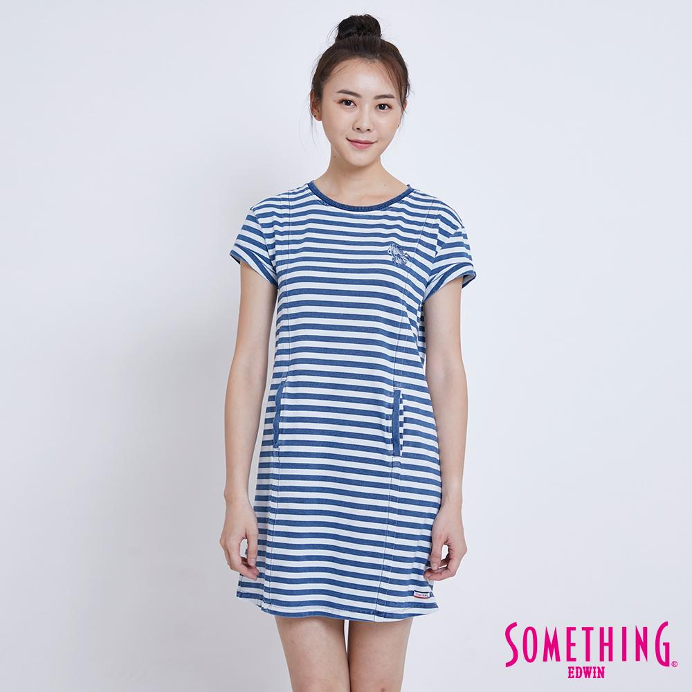 SOMETHING 鳶尾花條紋連身短袖T恤-女-漂淺藍
