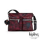 Kipling 高雅紅花條紋側背包-CORALIE