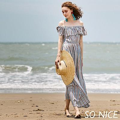 SO NICE渡假條紋一字領長洋裝