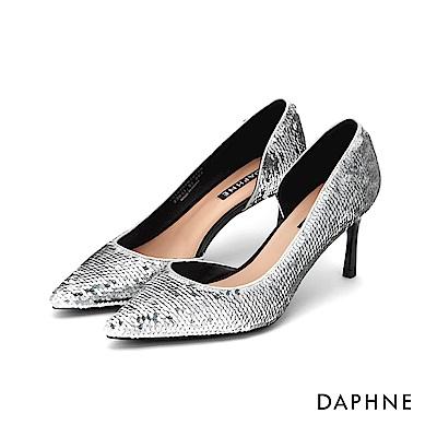 達芙妮DAPHNE 高跟鞋-亮片布面側挖空高跟鞋-銀