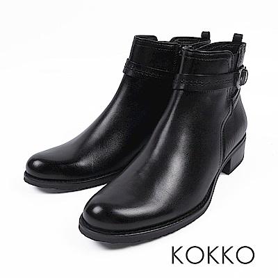 KOKKO-歐洲同步刷色牛皮平底短靴-百搭黑