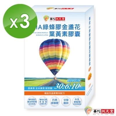 華陀扶元堂 HA綠蜂膠金盞花葉黃素膠囊3盒(30錠/盒)