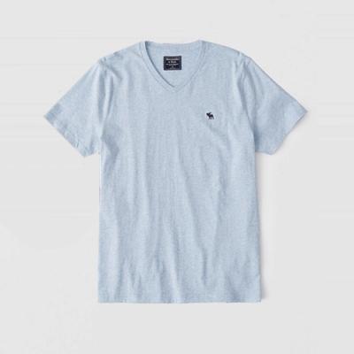 麋鹿 AF A&F 經典V領電繡麋鹿麻花紋路短袖T恤(BONL)-淺藍色