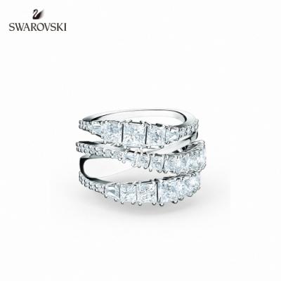 施華洛世奇 Twist Wrap 白金色螺旋曲線白色戒指 52