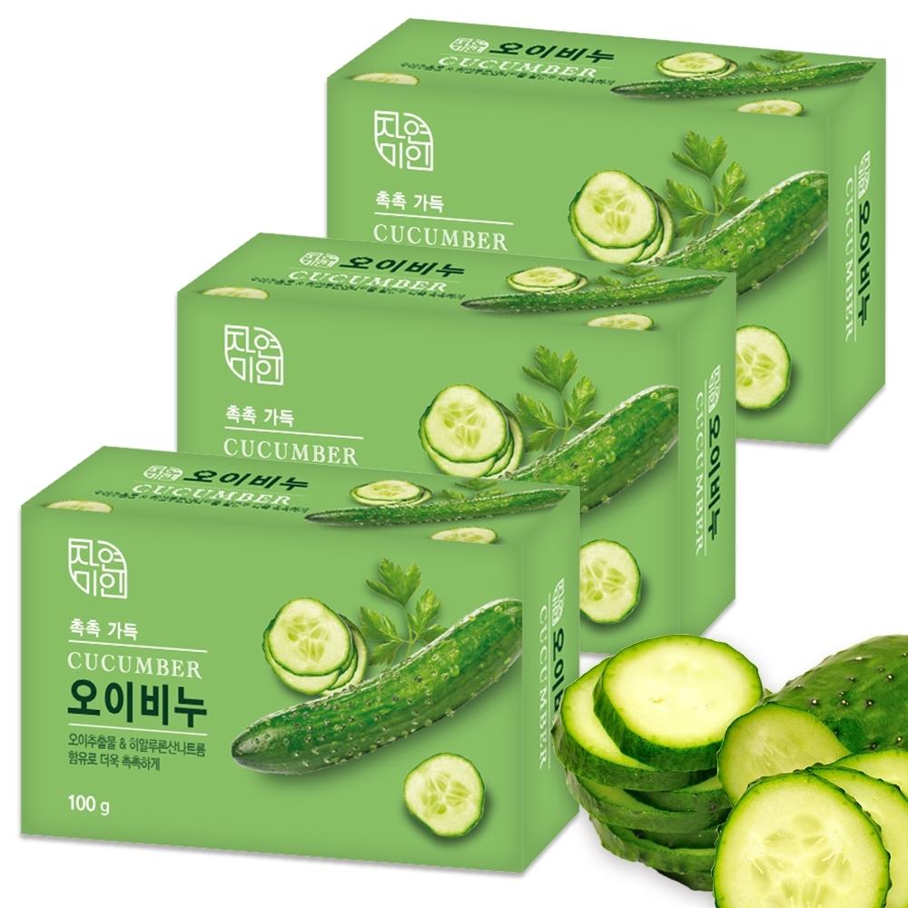 韓國 MKH無窮花 小黃瓜保濕美肌香皂 3入