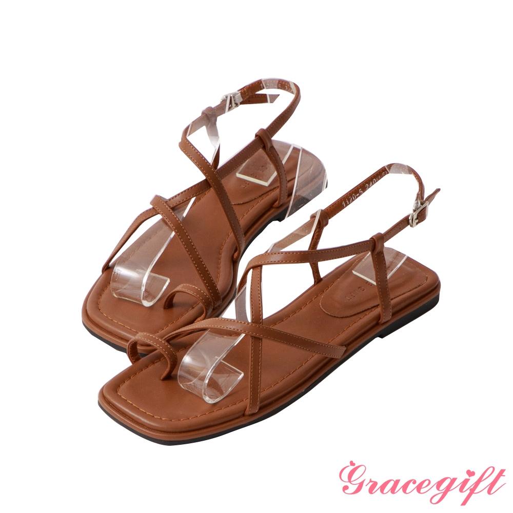 Grace gift-交叉套指平底涼鞋 棕