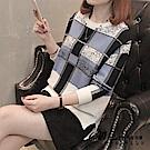 方格拼色針織毛衣-共3色(F可選)     初色