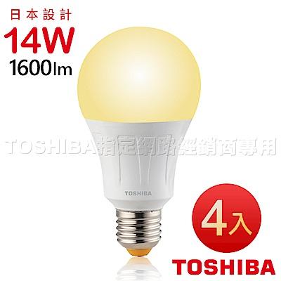 TOSHIBA東芝 14W廣角型LED燈泡/高效球泡燈-黃光4入