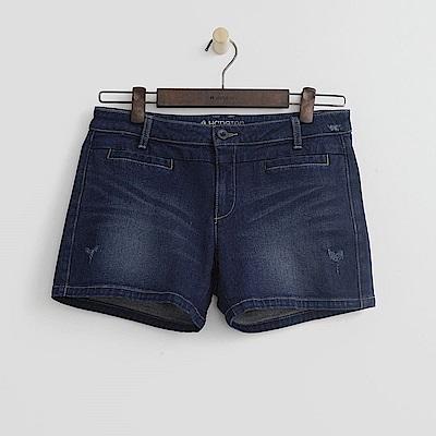 Hang Ten - 女裝 - 刷色磨破牛仔短褲-藍色