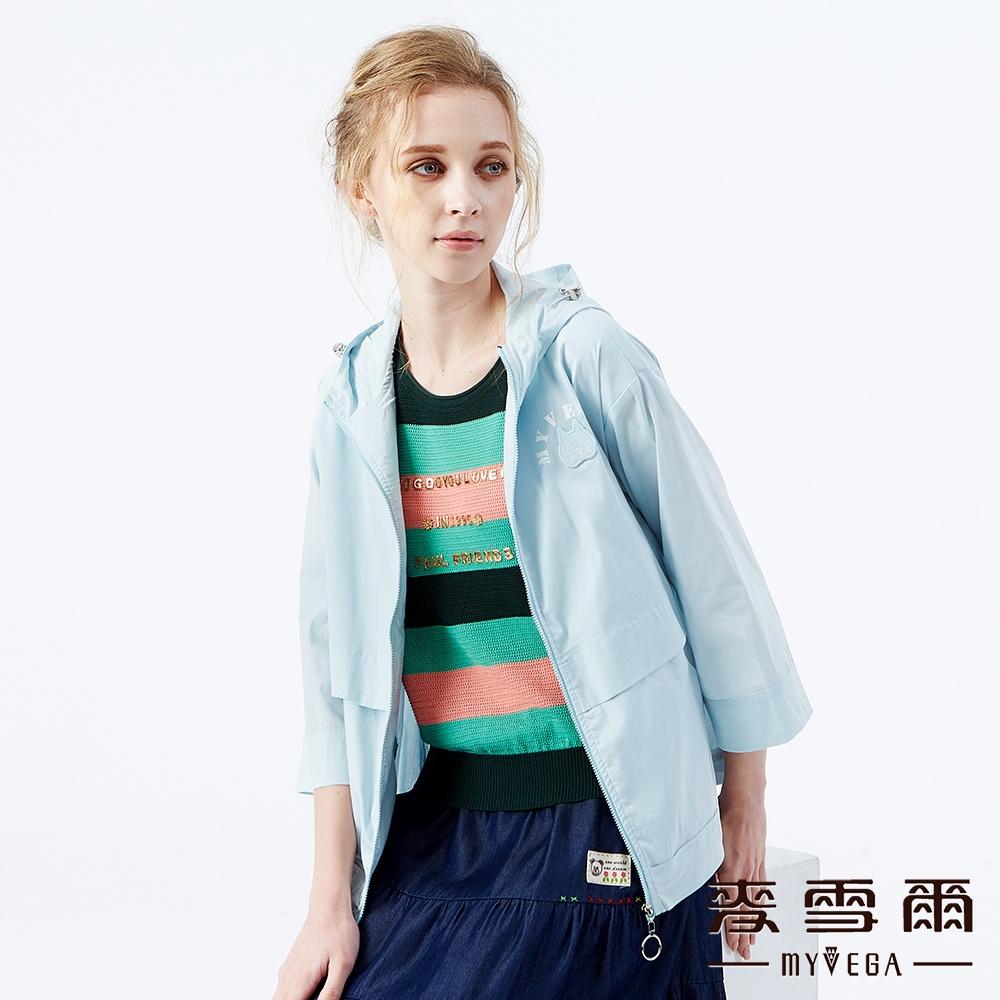 【麥雪爾】貓咪刺繡棉質風衣連帽外套-淺藍
