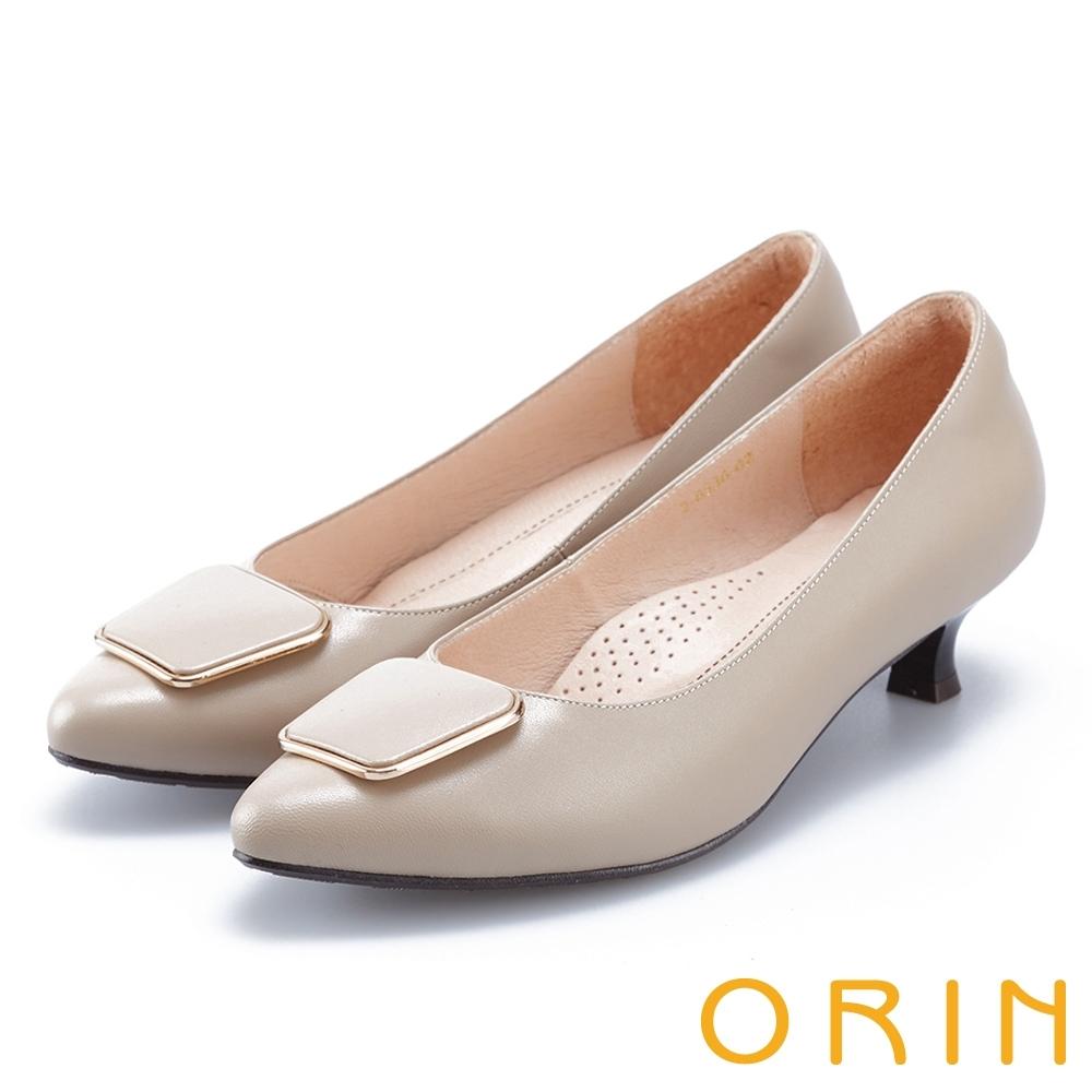 ORIN 梯形金屬釦環羊皮 女 低跟鞋 米色