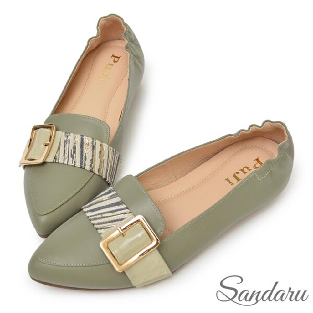 山打努SANDARU-全真皮方釦拼接斑馬紋尖頭平底鞋-淺灰 (淺灰)