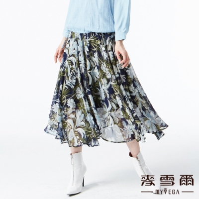 【麥雪爾】水彩花朵彈性腰身傘襬長裙