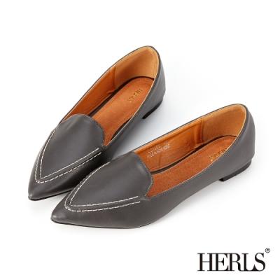 HERLS樂福鞋-內真皮立體縫線尖頭平底鞋樂福鞋-深灰色