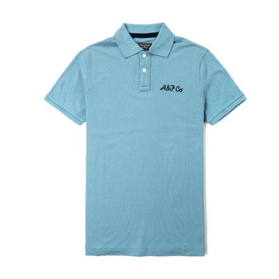A&F 男款經典品牌電繡POLO衫 藍綠(藍綠-XXL)