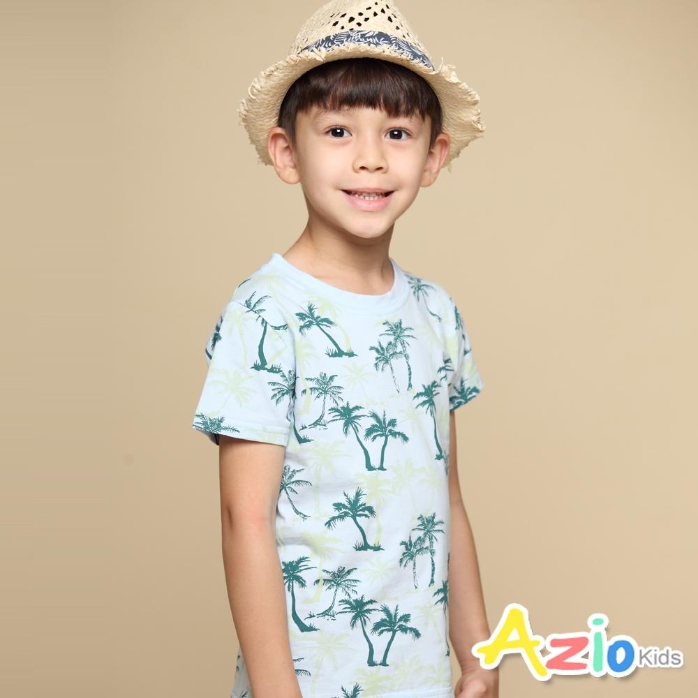 Azio Kids 上衣 滿版椰子樹印花短袖上衣T恤(藍)