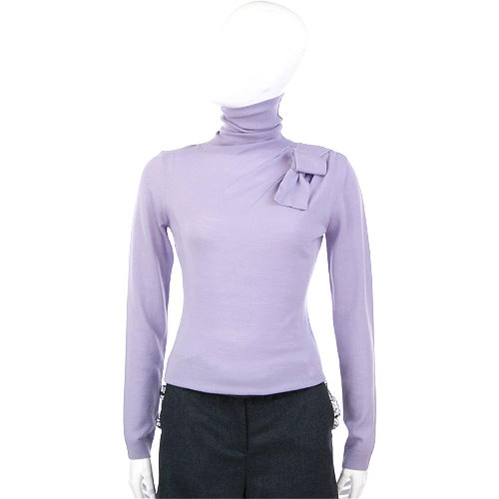 VALENTINO 薰衣草紫色蝴蝶結飾高領毛衣