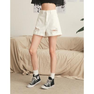 Shester55-白色刷破造型短褲-女【B2SH031】