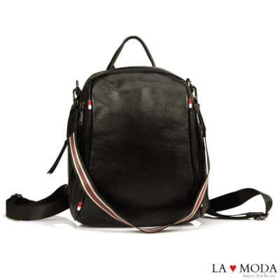 La Moda 頂級工藝質感全真皮超大容量多背法肩背後背包(黑)