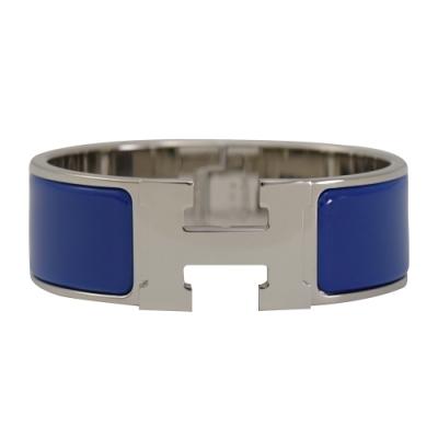 HERMES CLIC H LOGO琺瑯扣式寬版手環(銀/鈷藍)
