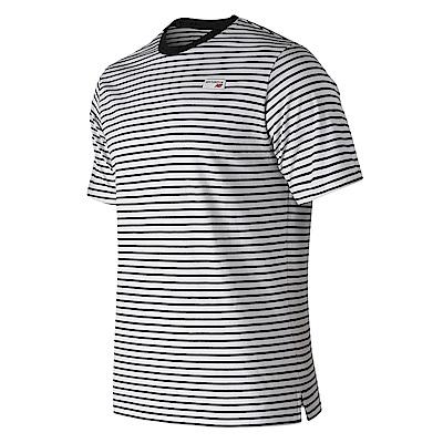 New Balance復古小Logo條紋短袖T恤AMT91561BK_中性黑色