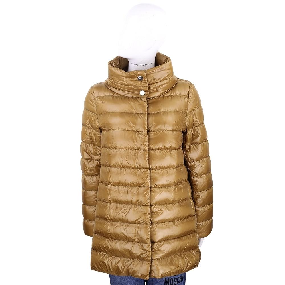 HERNO 黃棕色長版立領車縫線羽絨外套