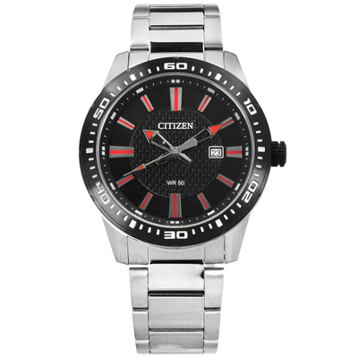CITIZEN 礦石強化玻璃 日期 日本機芯 不鏽鋼手錶-紅黑色/44mm