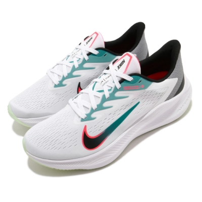 Nike 慢跑鞋 Zoom Winflo 7代 男鞋 路跑 跑鞋 氣墊 避震 球鞋 白 黑 CJ0291100