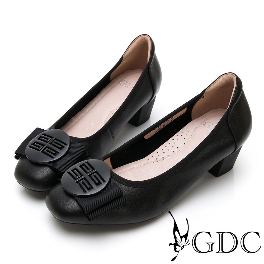 GDC-真皮質感霧面氣質蝴蝶結上班跟鞋-黑色