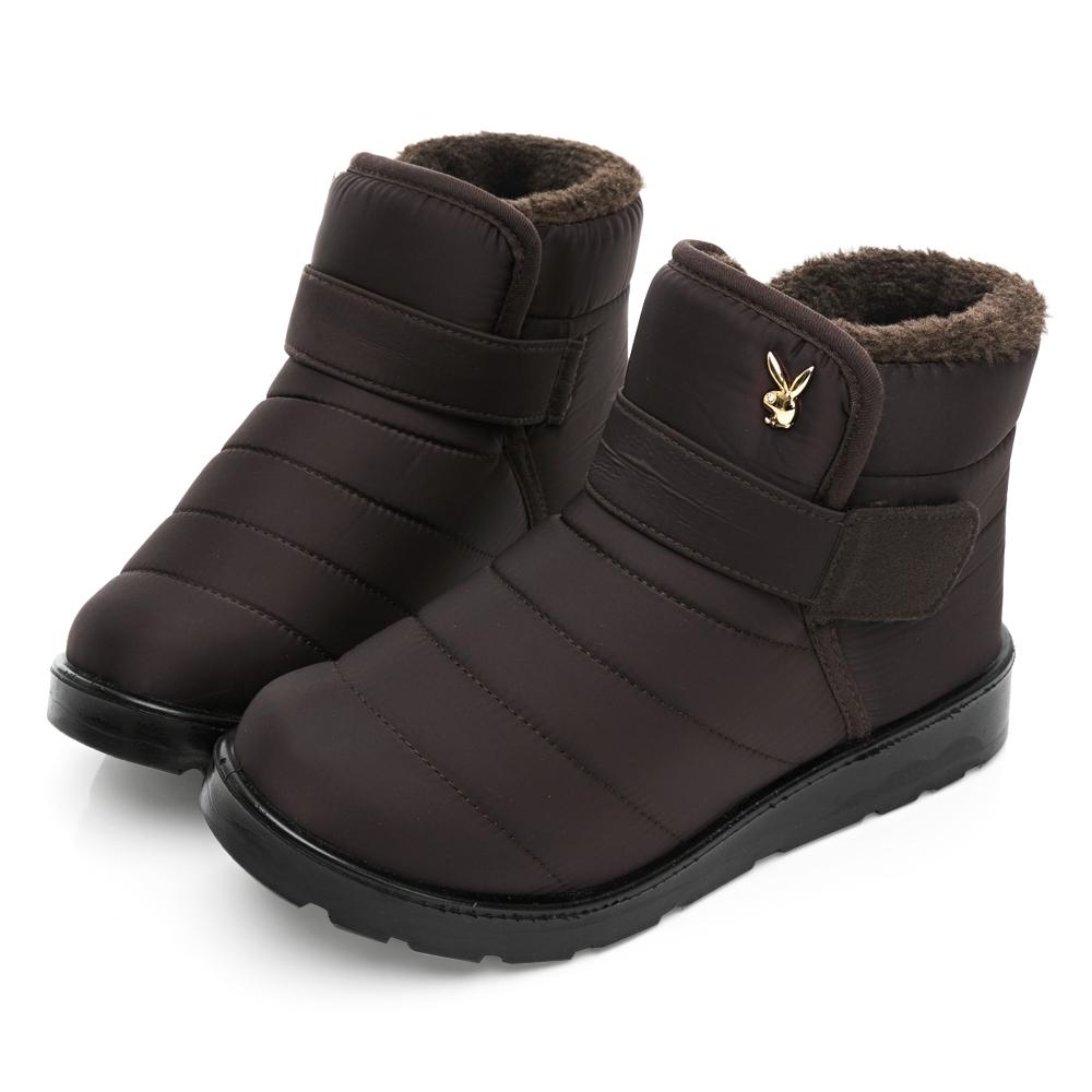 PLAYBOY 暖感防潑水短筒機能雪靴-咖-Y676544