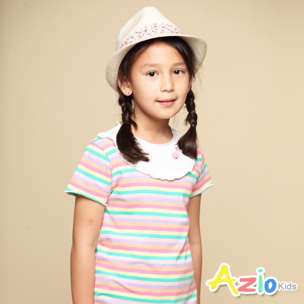 Azio Kids 女童 上衣 領口白色荷葉造型彩色橫條紋短袖上衣(彩條)