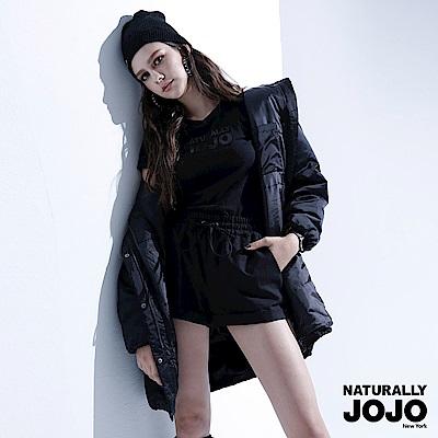 【NATURALLYJOJO】滑面長版鋪棉外套 (黑 )