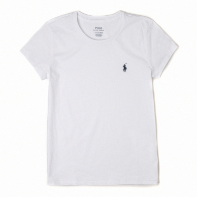 Polo Ralph Lauren 經典小馬圓領素面短袖T恤(女)-白色