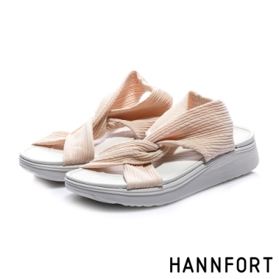 HANNFORT  Ultra Comf 4D 輕盈綁結扭轉厚底拖鞋 女 粉膚