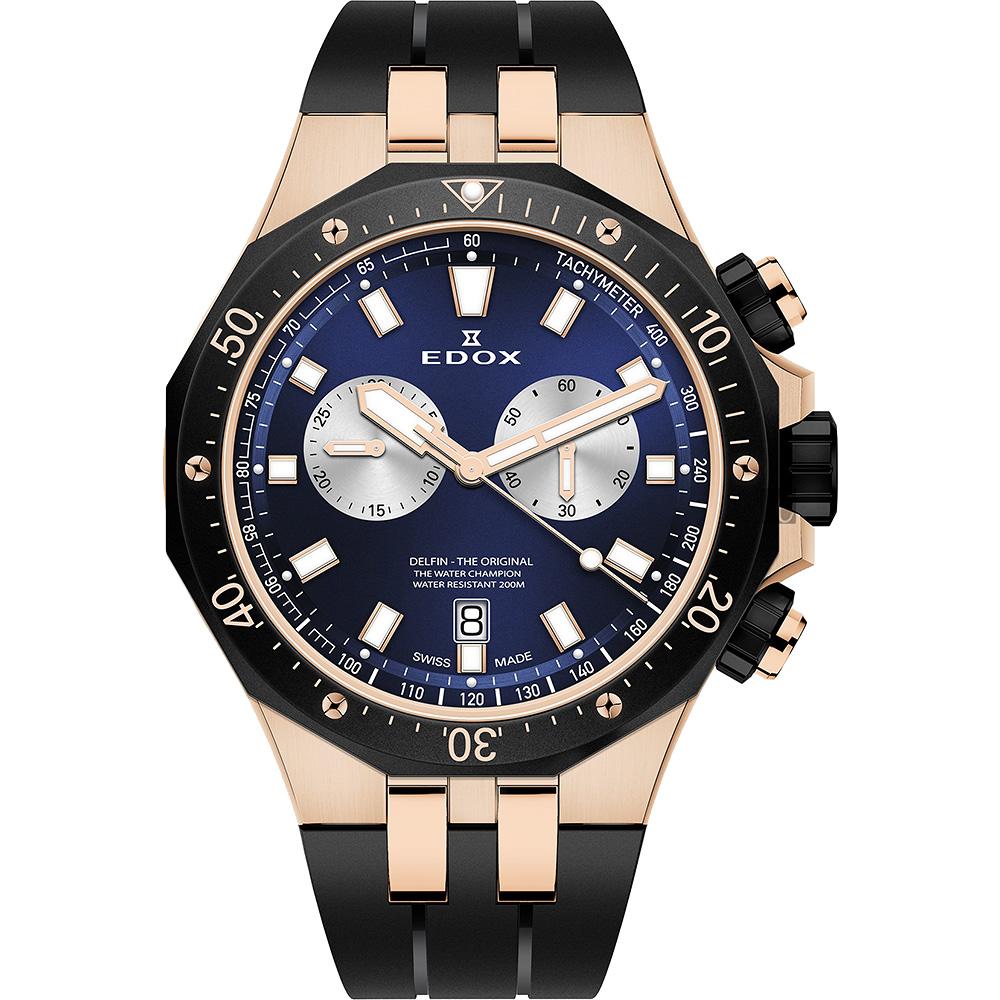 EDOX Delfin 水上冠軍專業200米防水計時碼錶-藍x黑/43mm