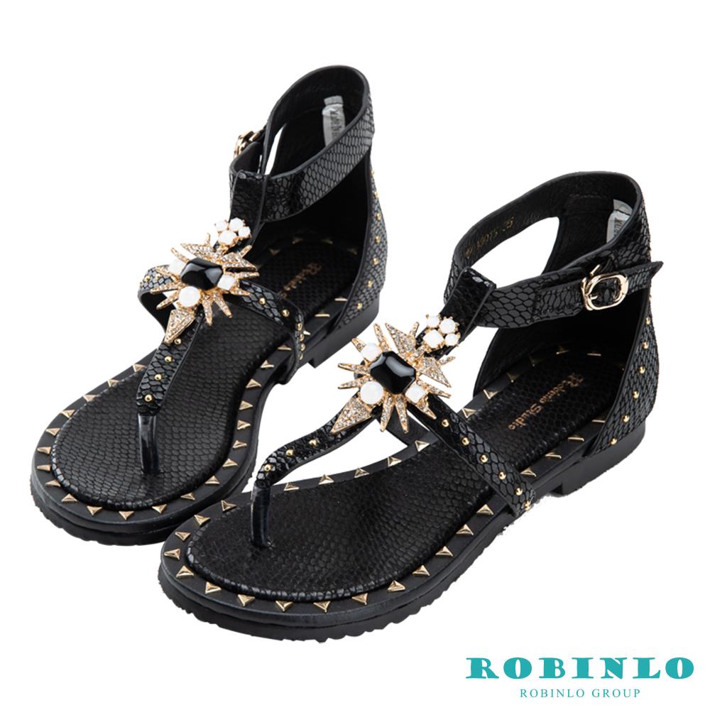 Robinlo 復古性感蛇紋羅馬涼鞋 黑色