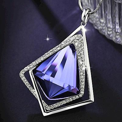 iSFairytale伊飾童話 水滴冰晶 藍水晶菱形水鑽長鍊