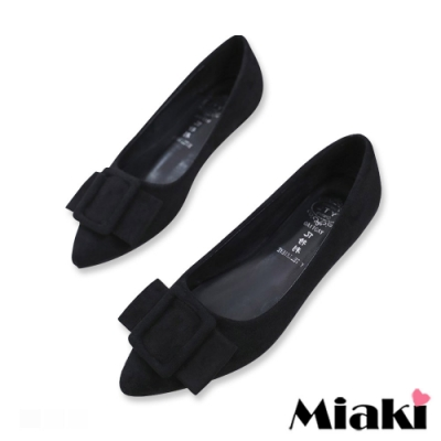 Miaki-娃娃鞋絨面小香風平底鞋-黑
