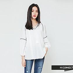 H:CONNECT 韓國品牌 女裝-甜美刺繡流蘇上衣-白