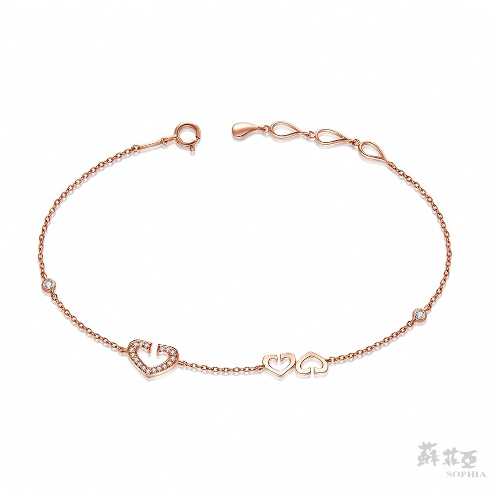 SOPHIA 蘇菲亞珠寶 - 心有所屬 14K玫瑰金 鑽石手鍊
