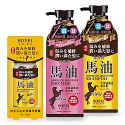 舒妃SOFEI 馬油特潤洗護組 保濕洗髮精600ml+柔亮護髮膜600ml+調理膠囊28顆