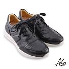 A.S.O 機能休閒 勁步健康異材綁帶休閒鞋-黑