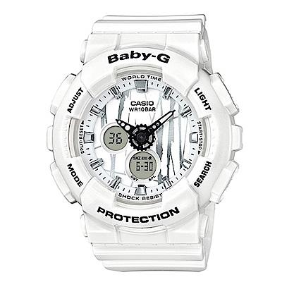 BABY-G 街頭塗鴉城市搖滾風格休閒錶(BA-120SP-7A)白色43.4mm