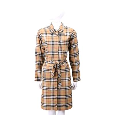 BURBERRY Vintage 古典黃格紋腰部綁帶襯衫式洋裝