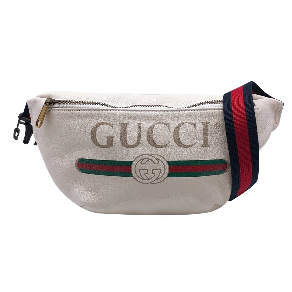 GUCCI 復古藍紅織帶Print胸口包/腰包/斜背包(530412-白)