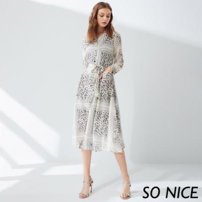 SO NICE優雅豹紋襯衫式雪紡罩衫