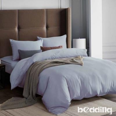 BEDDING-3M專利+頂級天絲-素色系列-單人薄床包+單人兩用被套三件組-琥珀藍