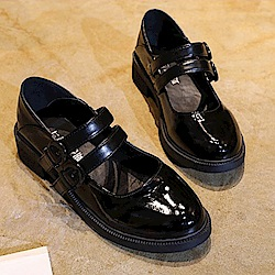 韓國KW美鞋館 時尚元素星圖後粗紅白粗跟鞋-黑色