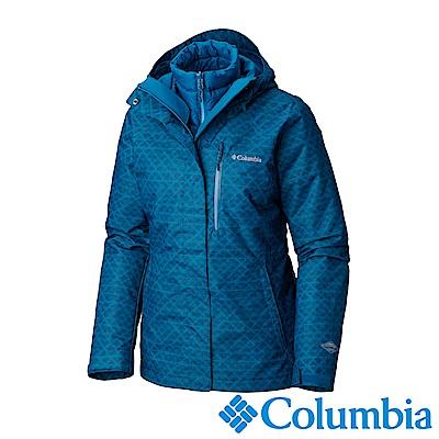 Columbia哥倫比亞 女款-Omni-HEAT鋁點保暖防水兩件式化纖外套-墨藍