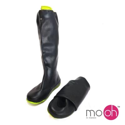 mo.oh 拚色防水束口長筒折疊雨鞋